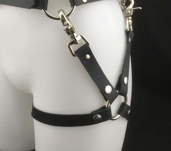 Leather Leg Harness in Black