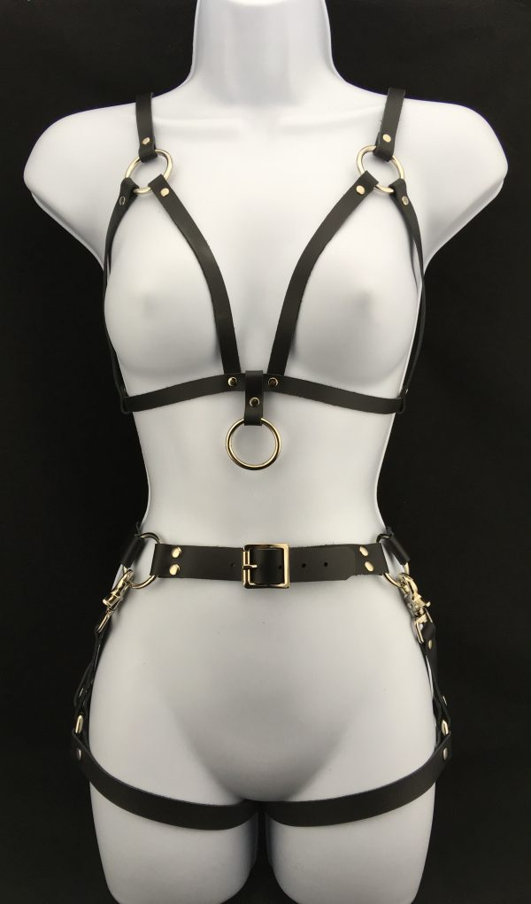 Simple bralette with leather belt & double leg harness