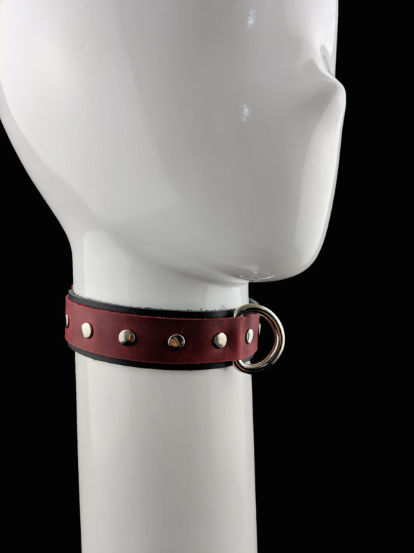Black & Red Leather D-Ring Choker