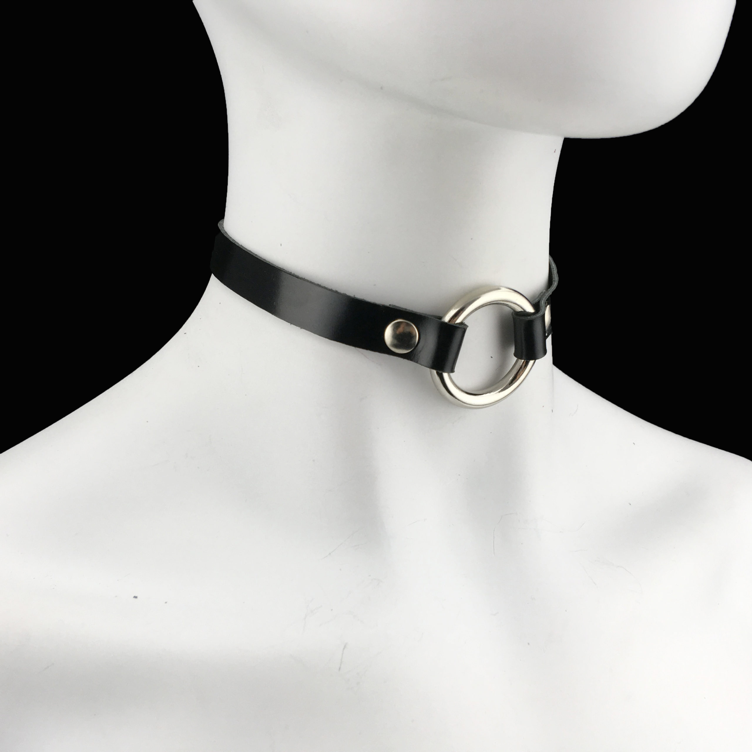 Patent Leather - SIlver O-Ring Choker