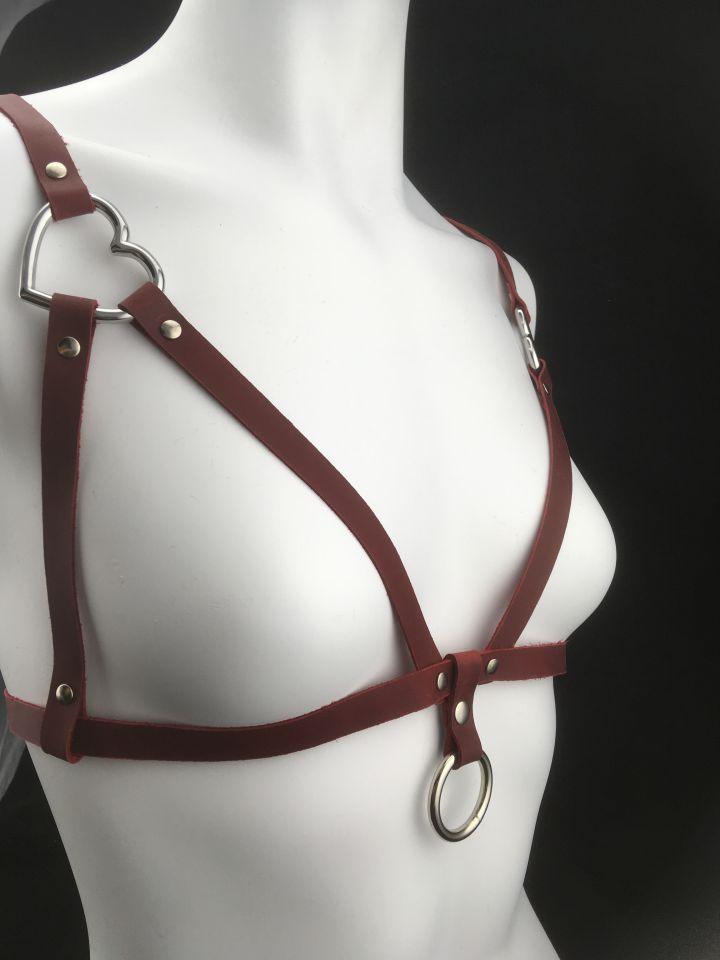 2 of Hearts Red Leather Bralette