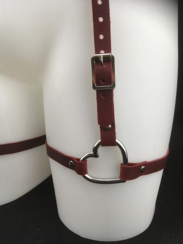 2 of hearts Red Leather Garter