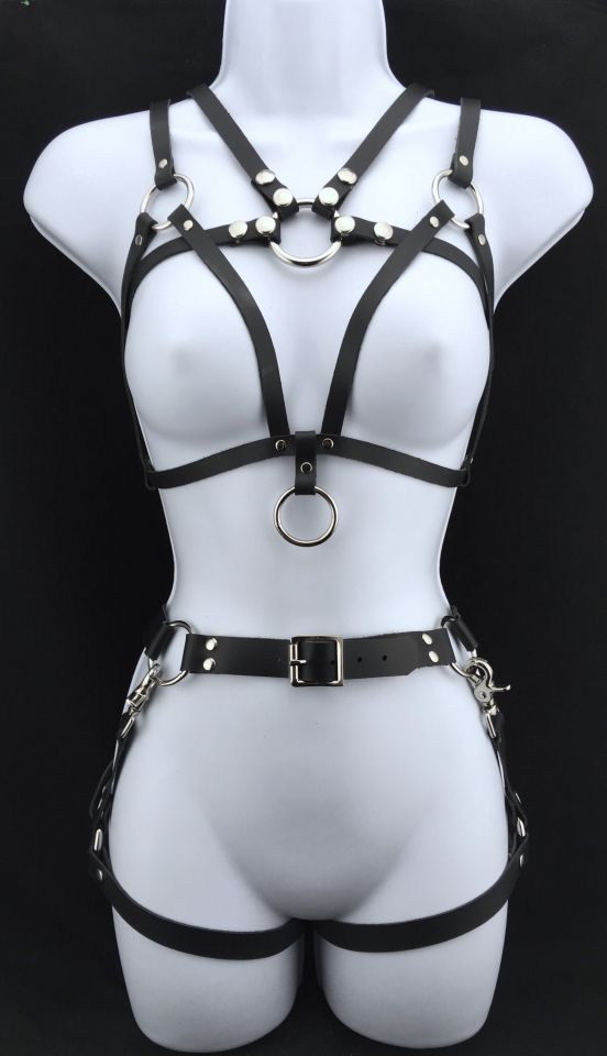 Simple leather Simple leather bralette & Story of O with belt & 2 leg harnesses & Story of O with belt & 2 leg harness