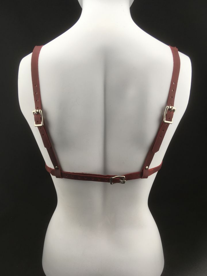 Simple Red Leather Bralette - Back