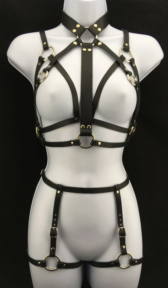 Simple Bralette & Queen Harness with Simple Garter