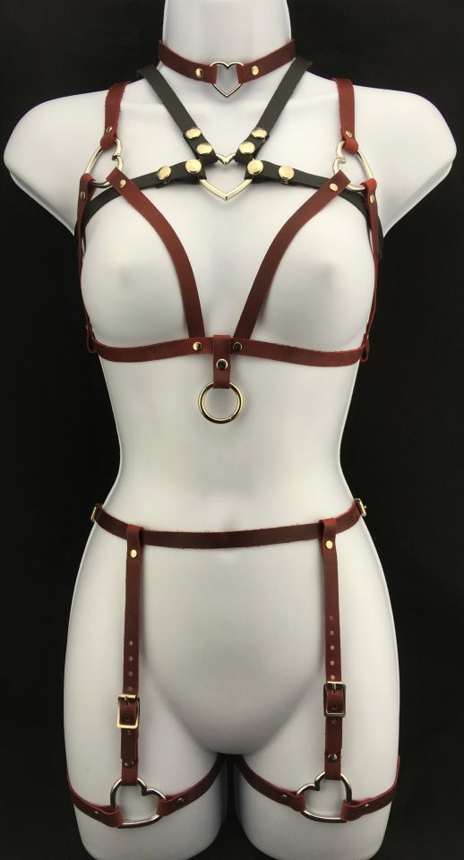 Two of Hearts bralette & Heart harness with two of hearts Leather Garter