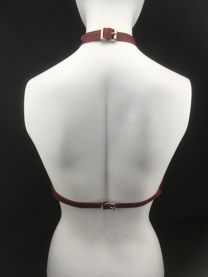 The Queen Leather Harness Red - Back