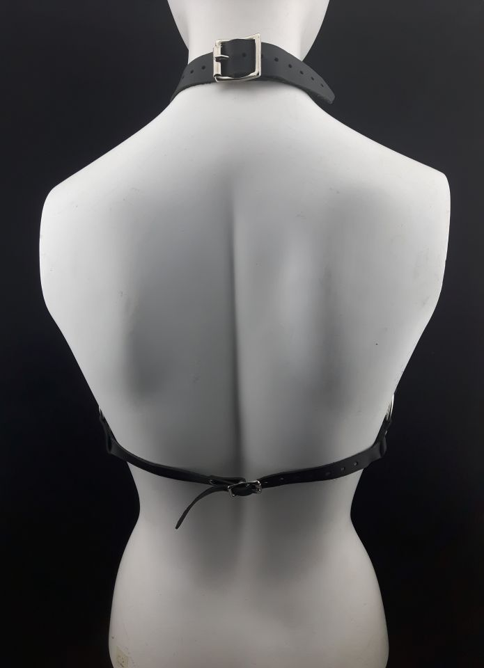 The Queen Leather Harness Black - Back