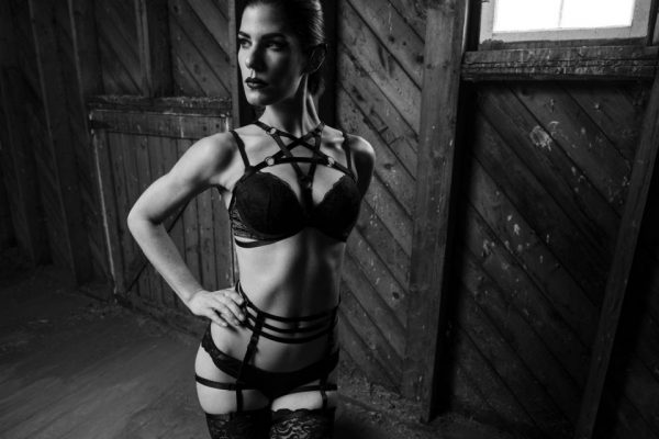 Pentagram Black Elastic Harness_ with Dainty Garter_Cass Guerin