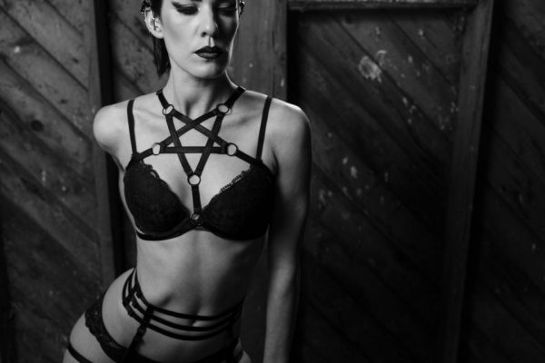 Pentagram Black Elastic Harness_ with Dainty Garter_Aude in Wonderland