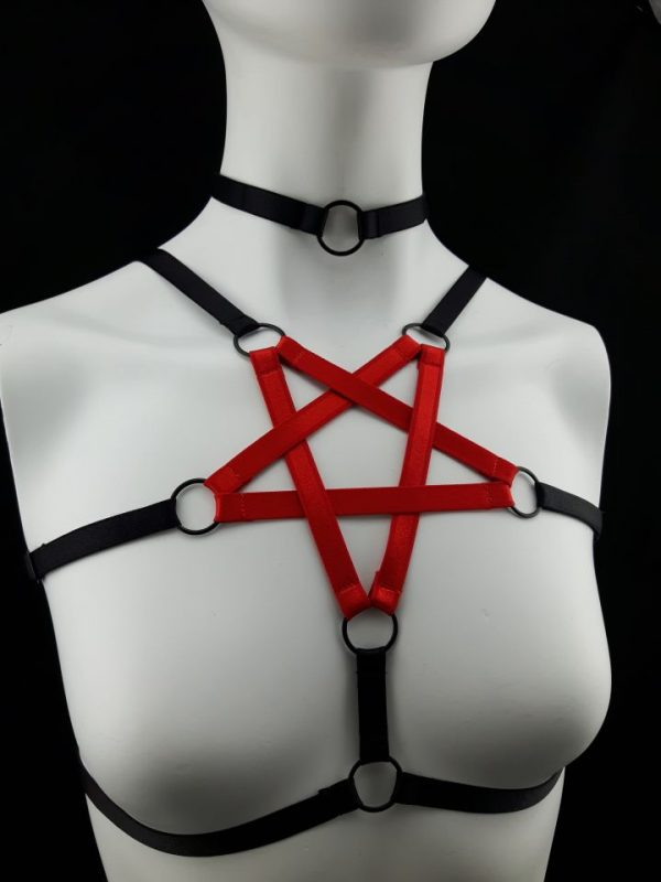 Red & Black Elastic Strap Pentagram Body Harness with Small Black Choker