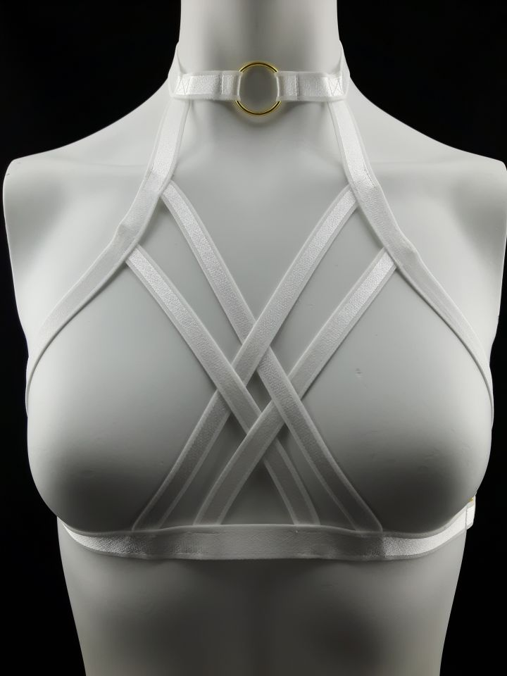 Crossfader White Elastic Strap Body Harness