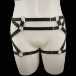 Black Kinky Booty Elastic Strap_Silver Hardware_Front