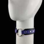 Black & Purple Leather - Silver DELUXE O-Ring Choker