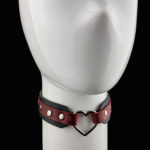 Black & Red Leather - Silver DELUXE Heart Choker