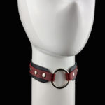 Black & Red Leather - Silver DELUXE O-Ring Choker