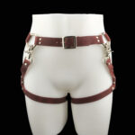 Leather belt_double leg harness_cherry_front