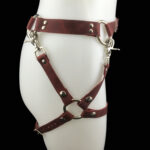 Leather belt_double leg harness_cherry_side