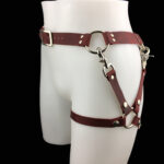 Leather belt_leg harness_cherry_side