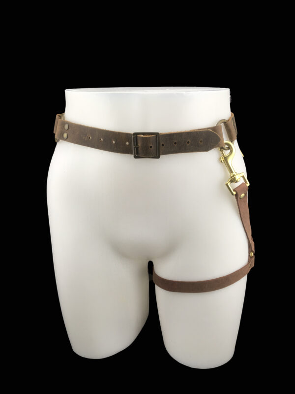 RESHOOT Leather belt_leg harness_brown_front